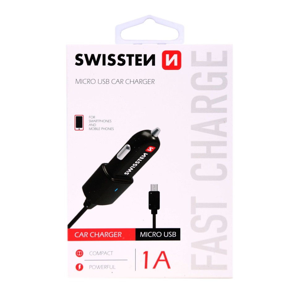 Swissten car charger microUSB 1A power_3